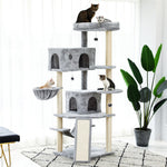 70 inch Cat Tree Cat Tower with 2 Condos, Long Slope, Hammock and Top Perch, Grey