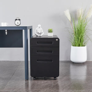 Black Mobile Filing Cabinet 3 Drawer File Cabinet with Lock Wheels Fully Assembled for Office Home, 23.62× 15.35 × 19.68 inch