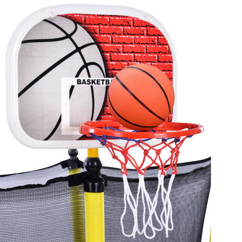 5.5 FT Kids Trampoline Outdoor & Indoor Mini Toddler Trampoline w/Safety Enclosure Net & Basketball Hoop for Backyard Fun Games