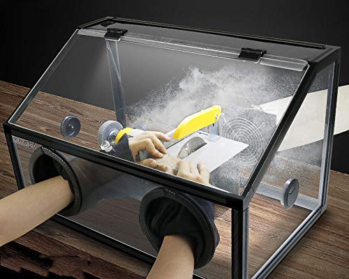 220V Electric 2 Holes Enclosed Grinding Table Polisher Acrylic Dust Box Cover (3mm LED Light with Fan)