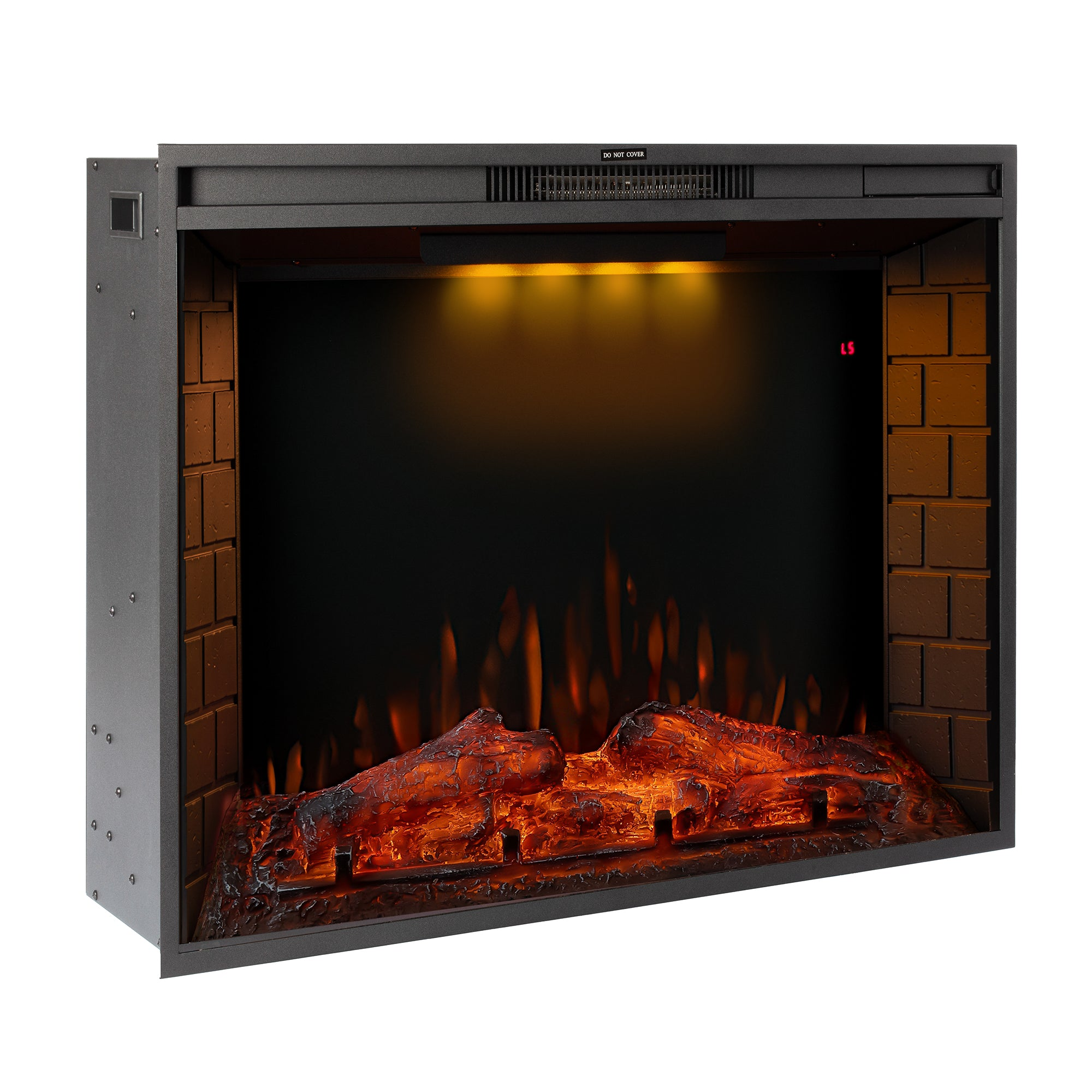 TREXM 33 inch LED Recessed Electric Fireplace with 3 Top Light Colors, Remote Control, Adjustable Heating, and Touch Screen 1500W, Black