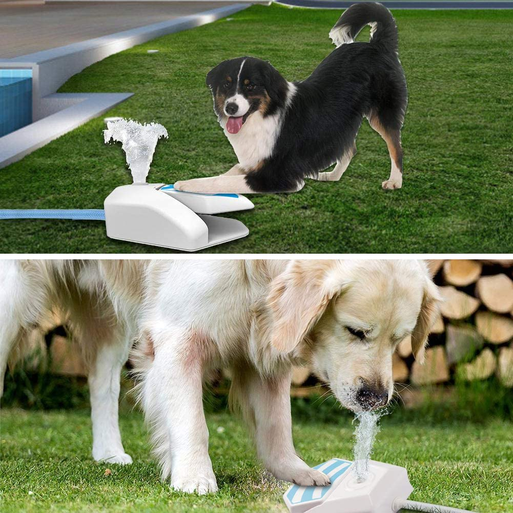 Self-Serve Pet Garden Water Fountain Step On Paw Activated Dispenser & Sprinkler for Drinking Fresh Water