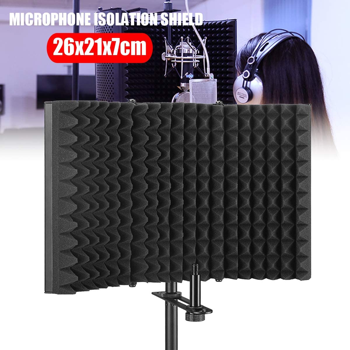 Microphone Isolation Shield, Pop Filter, Foldable Adjustable Durable Studio Recording Microphone Isolator Panel
