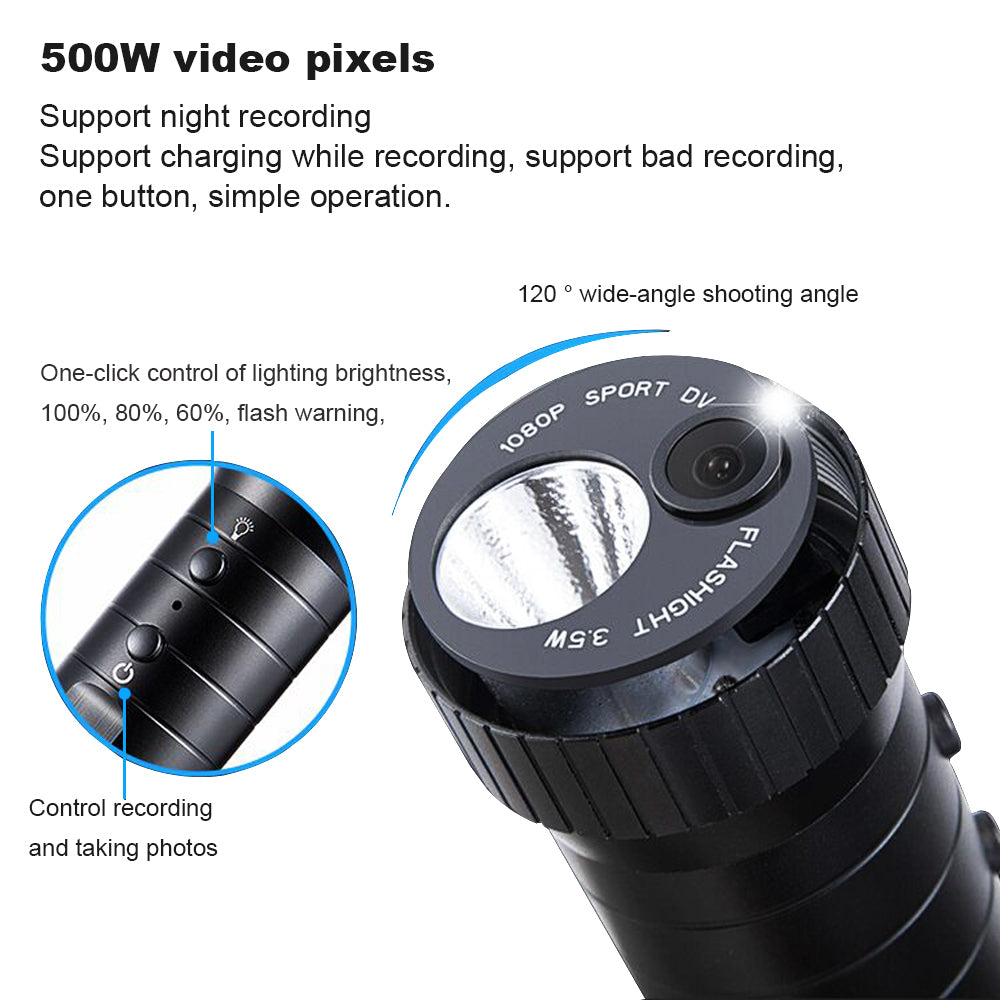 LED Flashlight Mini DVR Camera Features Flashlight w/Built-in Video Camera