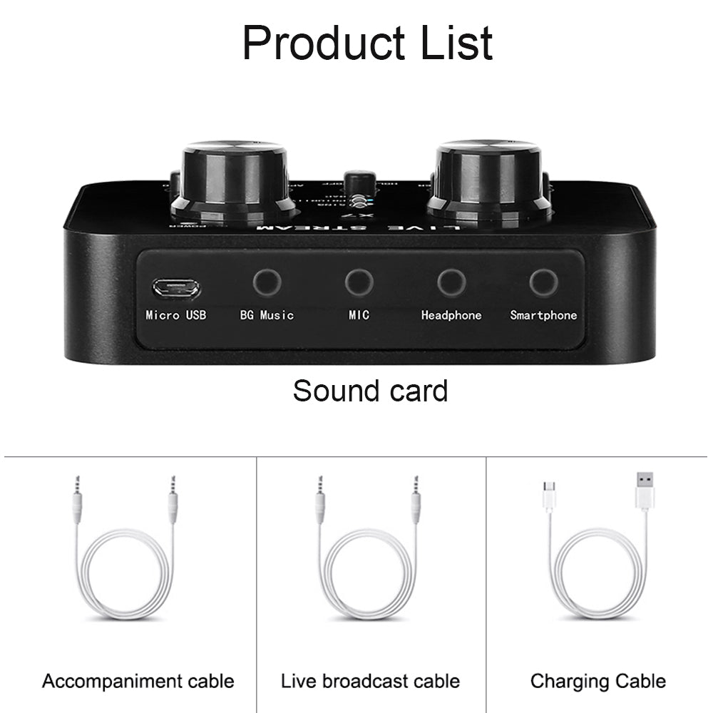 Bittychoice X7 Live Sound Mixer Portable Audio Mixer Voice Changer for Live Broadcast K Songs Recording Voice Chatting