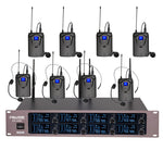 Professional 8-Channels UHF Lavalier Wireless Microphone System