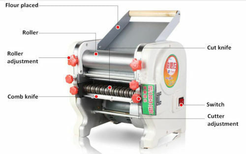 500W 220V  Electric Noodle Making Pasta Maker Dough Roller Noodle Cutting Machine