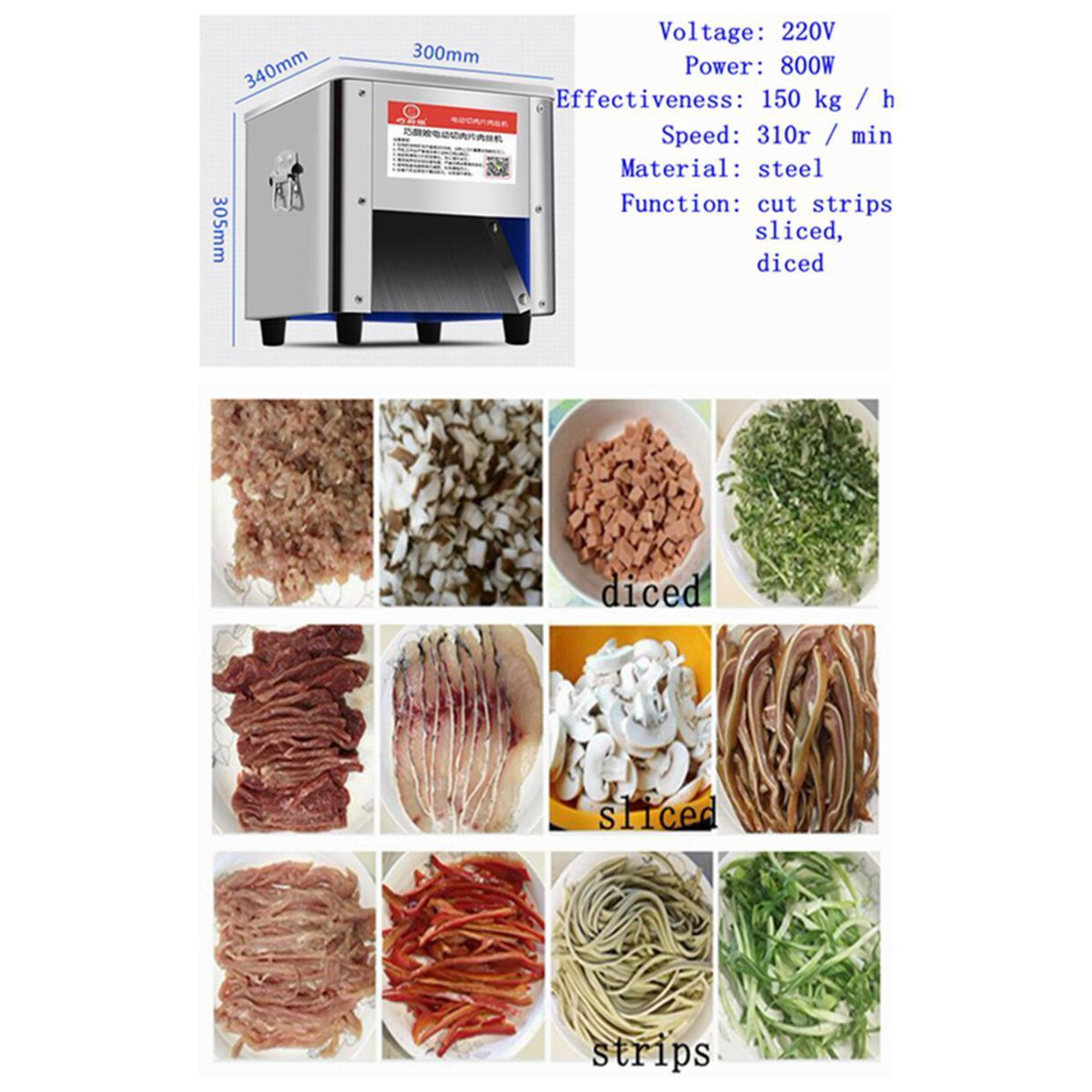 Commercial Meat Cutter Machine for Restaurant 3.5 mm Blade Automatic Slice Strip Cube Meat Cutting Machine 330 lbs/h Stainless Steel 220V