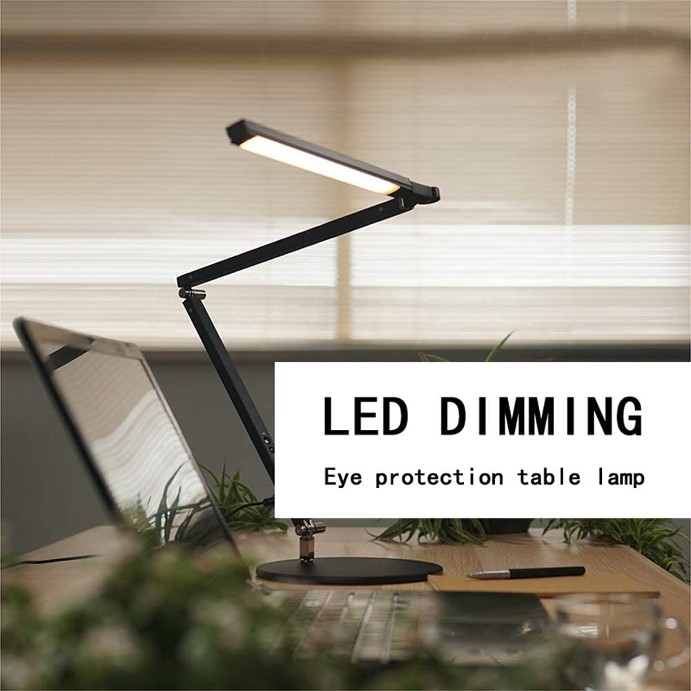8W 100-240V LED Table Lamp Desk Dimmable Foldable Metal Swing Arm Desk Lamp with 3 Lighting Modes for Desk Office Bedroom Reading
