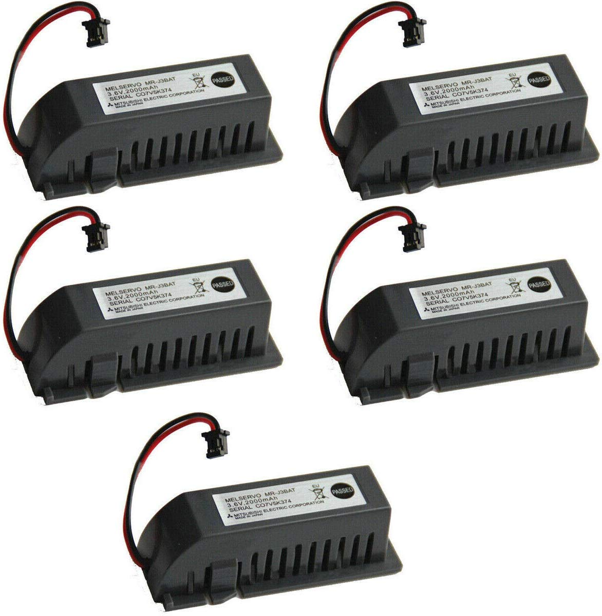5-Pack 3.6V MR-J3BAT 2000mAh ER6VC119A/B PLC CNC Li-ion Battery for Mitsubishi ER6VC119A/B MELSERVO MR70