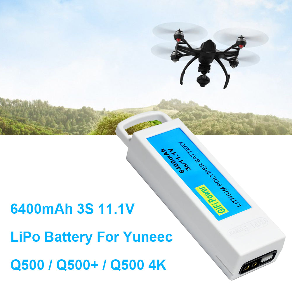 6400mAh High Capacity 11.1V LiPO Battery for Yuneec Q500 Q500+ Q500 4K Drone Quadcopter