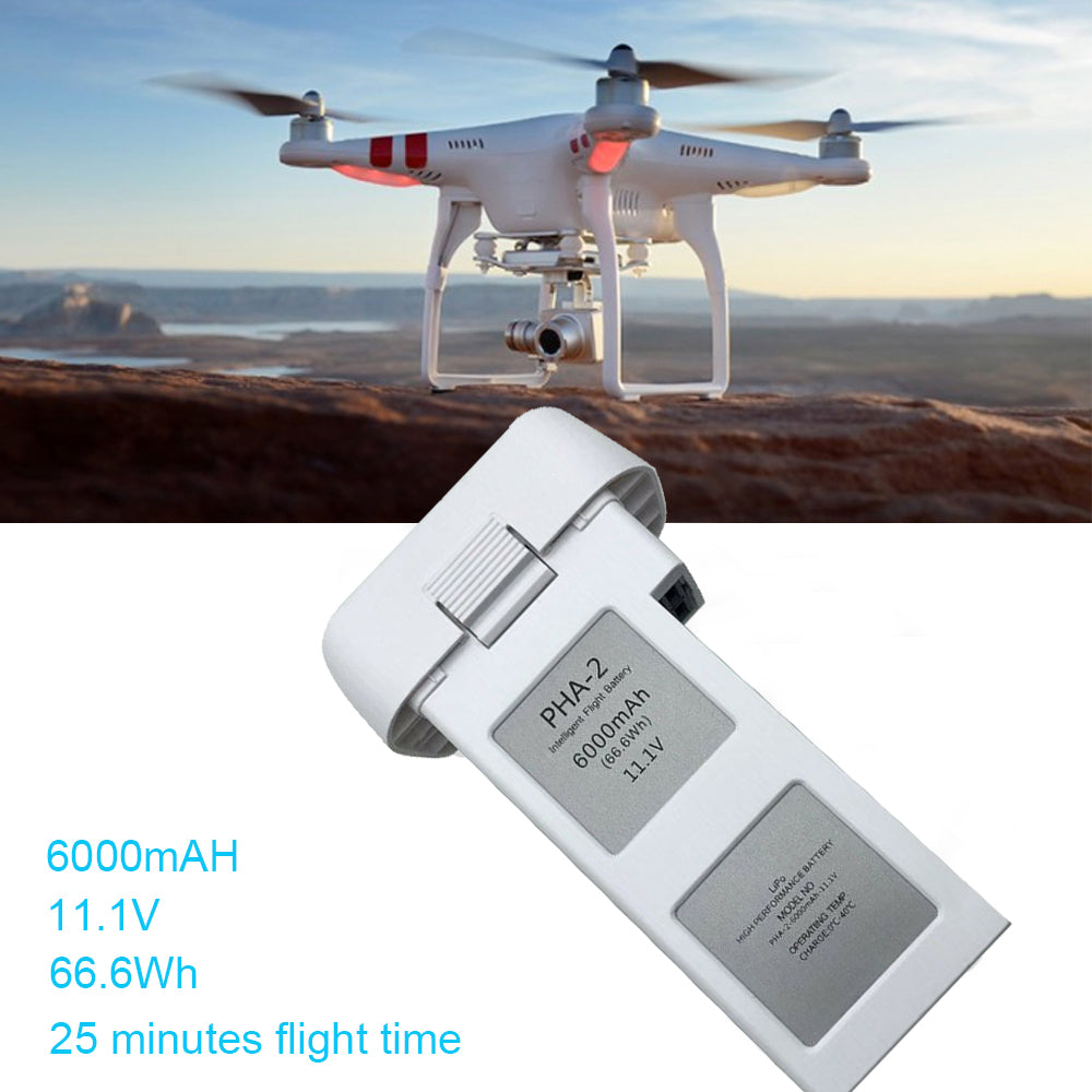 11.1V 6000mAh 66.6Wh Intelligent Flight Battery Replacement With Remaining Battery Capacity Display For DJI Phantom 2