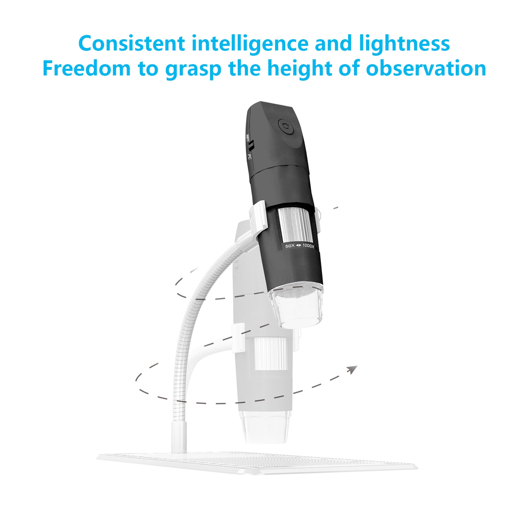 Portable HD 1080P 1000x WiFi Digital Microscope Camera with Snake Tube USB Microscope for IOS Android PC