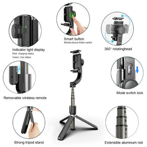 Extendable Selfie Stick Tripod with Detachable Bluetooth 4.0 Remote Shutter For Android iOS Phone