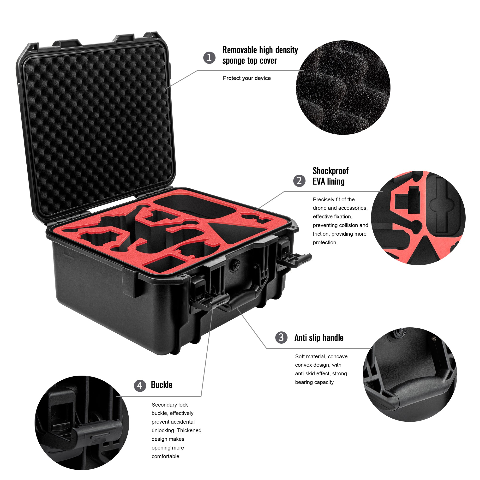 Waterproof Carrying Case for DJI FPV Combo Drone with Goggles V2(Remote Controller, 3 Batteries,Charger, Propellers,Motion Controller,and So On)