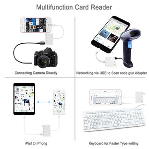 Lightning to USB OTG Adapter Cable iPhone iPad to USB Camera Adapter Kit