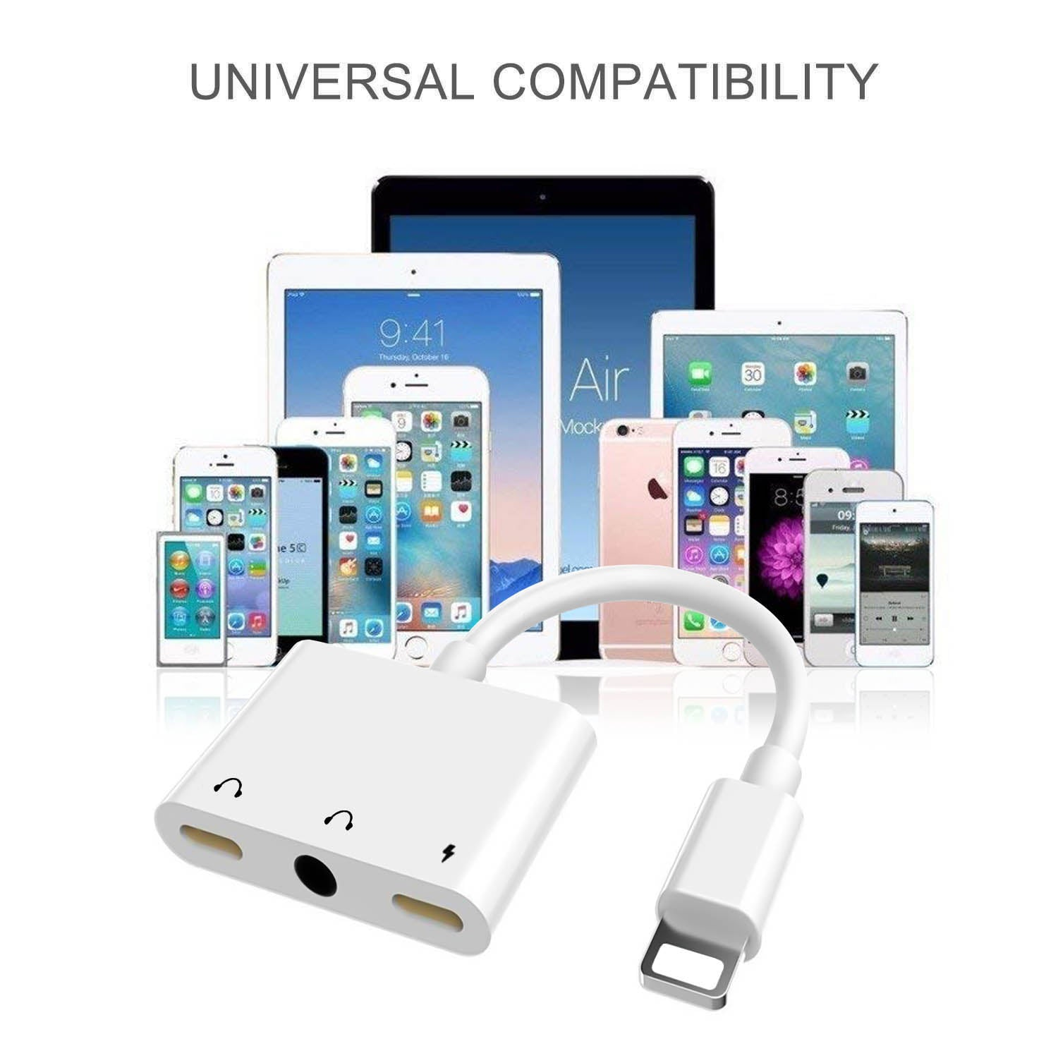 3 in 1 Audio and Charge Headphone Splitter for Phone 11 /11 Pro /XS /XS Max /XR /X /8 /8 Plus /7 /7 Plus Support Fast Charge