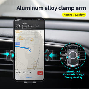 Auto-Clamping Qi Car Wireless Charger 10W/7.5W/5W Air Vent Dashboard Car Mount Compatible/w iPhone 12 Series/X/XR/11/8, Galaxy Note10/S10/S20 Series