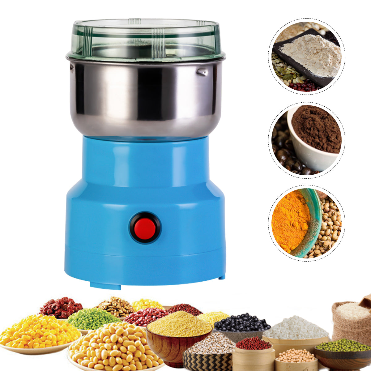 Portable Electric Cereals Grain Grinder Smash Machine for Nut Coffee Bean Spice Grinding