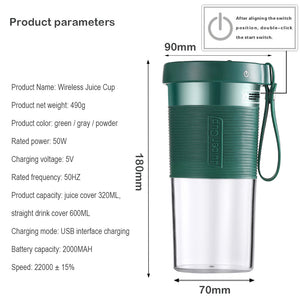 Electric Wireless Juicer 600ml Portable DIY Fruit Juicing Extractor Cup Outdoor Travel Bottle