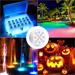 4Pcs Submersible LED Lights with RF Remote, Magnets, Suction Cups, Battery Operated IP68 Waterproof Underwater Light, 13LED 16 Color Changing Pond Lights for Inground Aquarium Fountain Vase