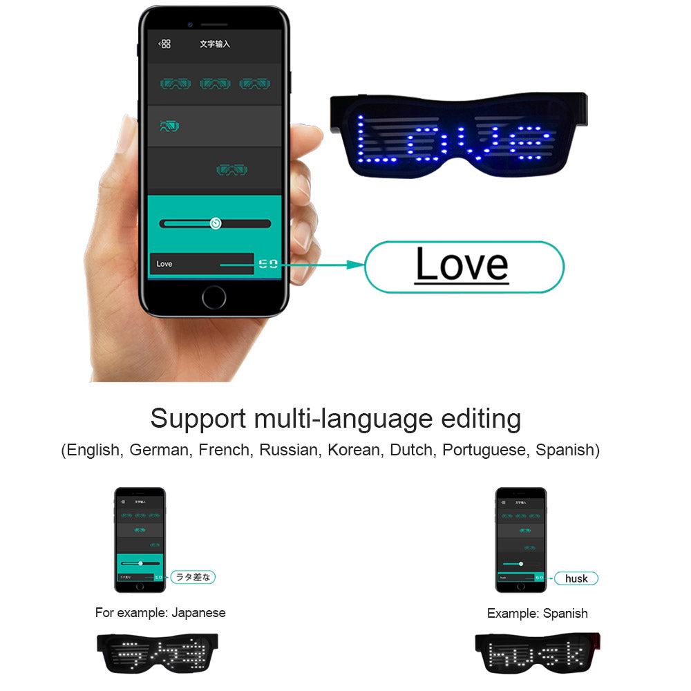 Funky LED Glasses Bluetooth APP Connected LED Display Smart Glasses USB Rechargeable DIY Funky Eyeglasses for Party Club DJ Halloween Christmas
