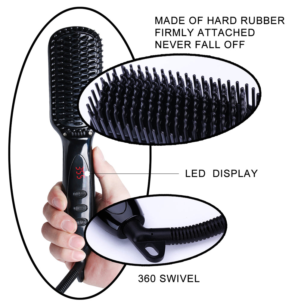 Beard Hair Straightener Brush Ionic Heat Brush for Home Travel