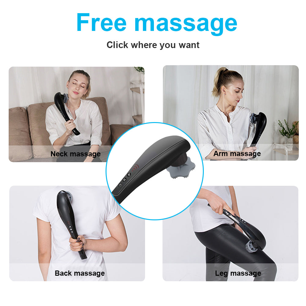 Rechargeable Handheld Deep Tissue Massager Cordless Electric Percussion Body Massage for Muscles Back Foot Neck Shoulder Leg Calf