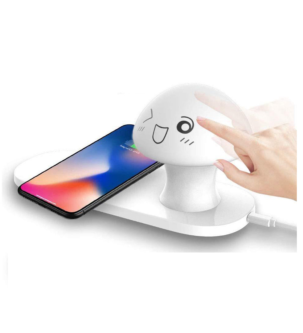 Wireless Charger with Touch-Control Silicone Mushroom Night Light for Bedroom