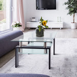 Rectangle Glass Modern Coffee Table Clear Coffee Table Side Center Tables for Living Room