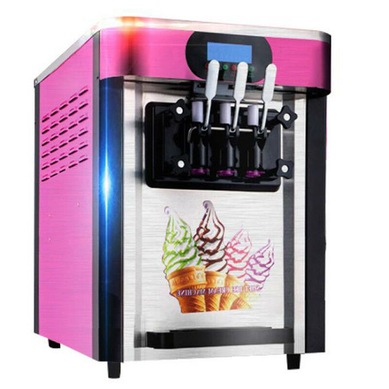 1000ml Commercial Soft Ice Cream Machine  LED Display Auto Shut Off Timer 3 Flavors Perfect for Restaurants