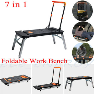 7 in 1 Multi-Function Portable Folding Workbench Heavy Duty  Scaffold Platform Hand Truck for Household& DIY Work