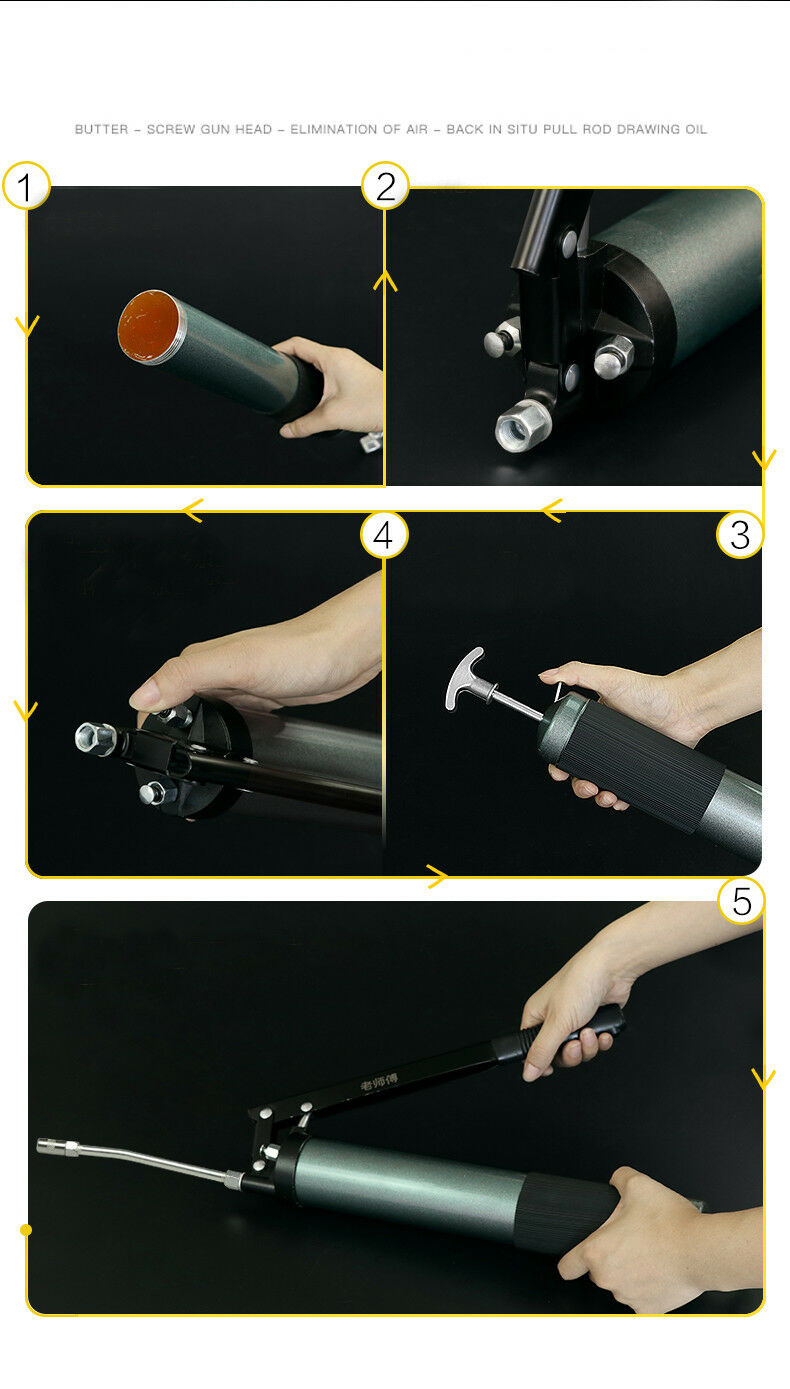 Grease Gun 10000 PSI Heavy Duty Pistol Grip Grease Gun Set with Flex Hose & Pistol Grip Handle
