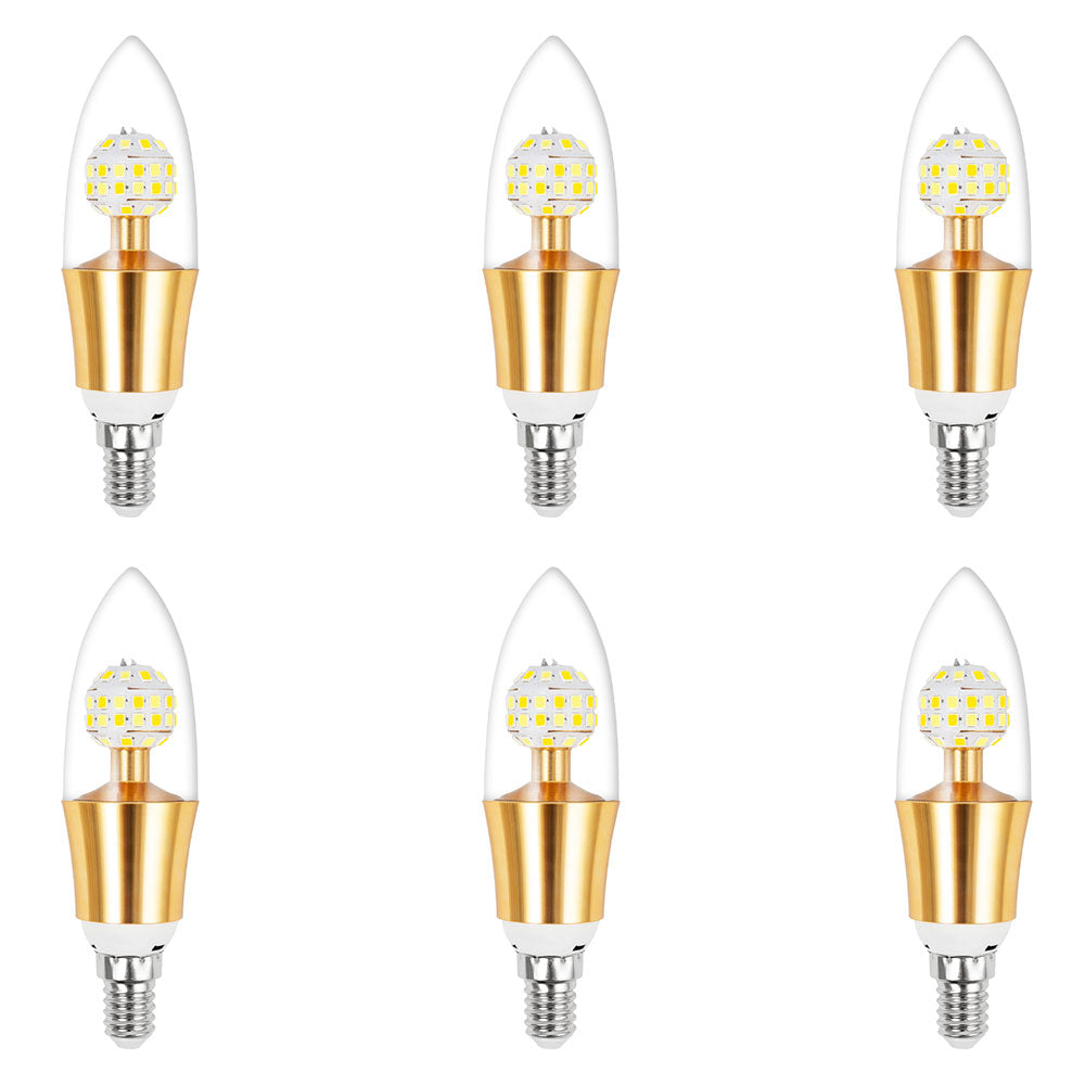 6 Pcs 10W Dimmable E12 LED Candelabra Light Candle Bulbs for Home Decoration