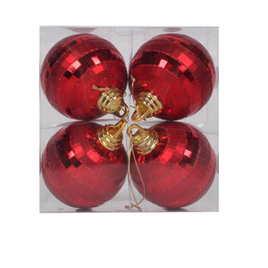 4 inches Red Shiny-Matte Mirror Ball 4/Box