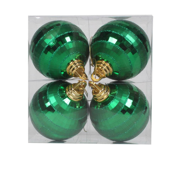 4 inches Green Shiny-Matte Mirror Ball 4/Box