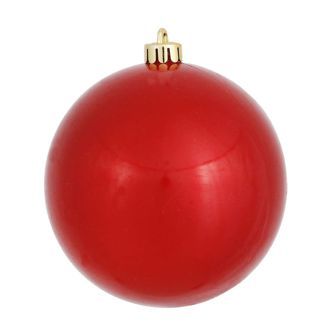 4 inches Red Candy Ball UV Drilled 6/Bag