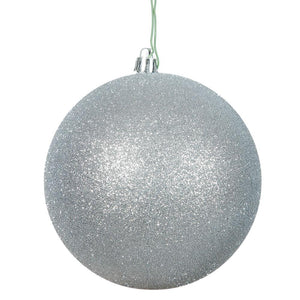 4 inches Silver Glitter Ball Drilled 6/Bag