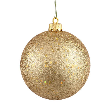 4 inches Gold Sequin Ball Drilled 6/Bag