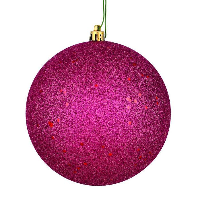 4 inches Berry Red Sequin Ball Drilled 6/Bag