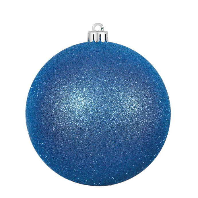 4 inches Blue Glitter Ball Drilled 6/Bag