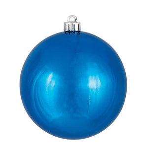 4 inches Blue Shiny Ball UV Drilled 6/Bag