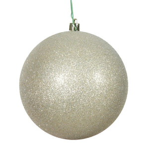 4 inches Champagne Glitter Ball Drilled 6/Bag
