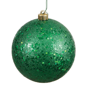 4 inches Green Sequin Ball Drilled 6/Bag