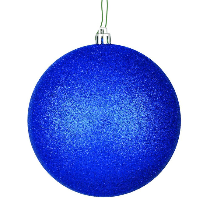 4 inches Midnight Blue Glitter Ball Drilled 6/Bag