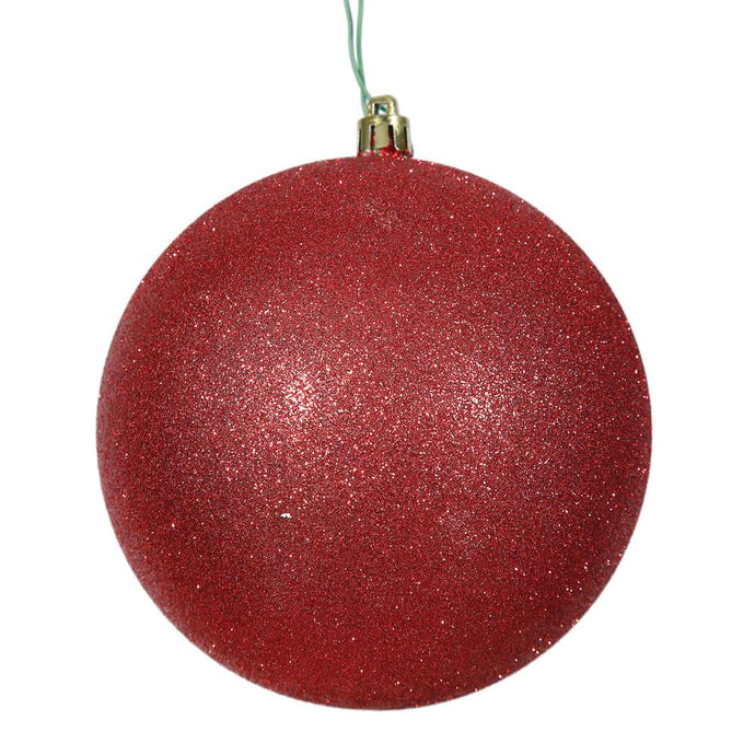 4 inches Red Glitter Ball Drilled 6/Bag