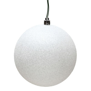 4 inches White Glitter Ball Drilled 6/Bag