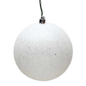 "4"" White Sequin Ball Drilled 6/Bag"