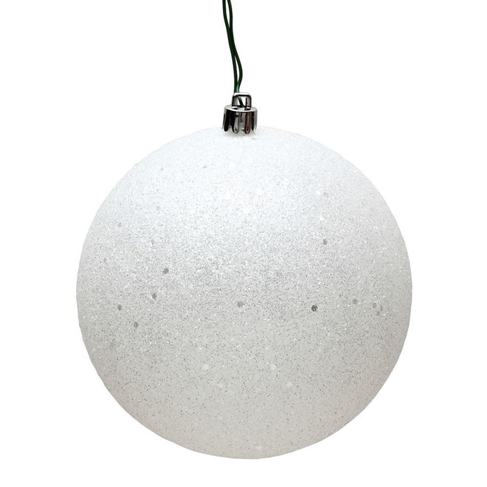 4 inches White Sequin Ball Drilled 6/Bag