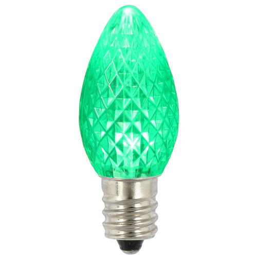 C7 Faceted LED Green Bulb .96W